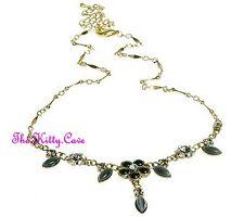 Gold Necklace w/ Swarovski Crystals Deco Vintage Hollywood Glamour Black Catseye