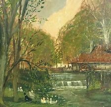Hütten Wolfgang *1922 Elberfeld Landschaft ENTEN Mühle im Stile von Adolf Lins