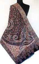 Black & Ivory Kani Shawl. Hand-Cut Wool. Rich Details. Jacquard Jamawar Stole