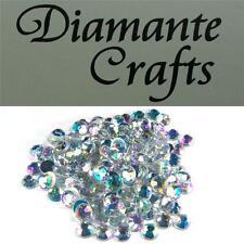 200 x 7mm Clear Iridescent Diamante Loose Round Flat Back Rhinestone Craft Gems