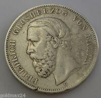 5 Mark Silbermünze Dt. Kaiserreich 1876 G - Friedrich Großherzog von Baden