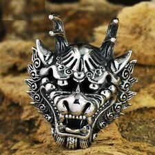 Real 925 Sterling Silver Big Size Jewelry Men Dragon King Head Rings Rock Style