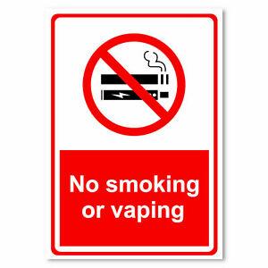 No Smoking or Vaping Health Safety Signage Workplace metal park safety sign