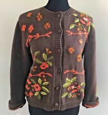 David Loren Vintage Fall Sweater Chunky Women S/M Embroidered Orange Brown