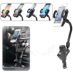 2 USB Car Cigarette Lighter Mount Holder Charger For Mobile Phone GPS MP3