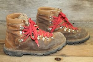 VINTAGE MENS BROWN LEATHER RED LACE UP MOUTAINEERING/HIKING/TRAIL BOOTS SZ 9 D