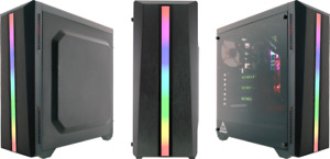 Riotoro CR100TG ATX Gaming Case - Black, Tempered Glass Panel & RGB Front Panel