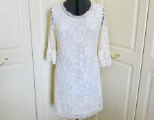 Chic ivory lace 3/4 sleeve lined sheath dress by Geri Horner for Next, size 14