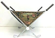 Vintage Golf Themed Fireplace Log Fire Wood Kindling Holder Basket - Rare Unique