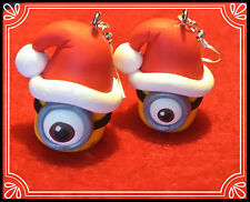 ** Santa hat Minion earrings- Handmade Christmas stocking filler fimo xmas **