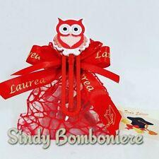 sacchetti bomboniere laurea economici segnalibro con gufetto confetti rossi