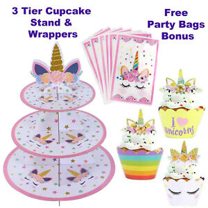 Unicorn Cake Toppers,3 Tier Cupcake Stand, Unicorn Party Supplies,Girls Birthday