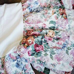 Gorgeous Ralph Lauren Allison Rose Floral Bed Skirt Dust Ruffle Queen Cottage