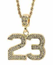 23 JORDAN NECKLACE GOLD MICHAEL ICED PENDANT CHAIN RHINESTONES NBA BASKETBALL