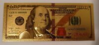 US America $100 One Hundred Dollars Banknote 24k Pure Gold /w Sleeve