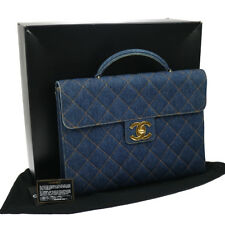Authentic CHANEL Quilted Briefcase Business Hand Bag Denim Vintage GOOD BA01755c