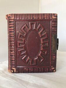 Antique Victorian Photo Album With 12 Card Photos Leather Book Metal Clasp Curio