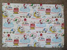 Vintage Peanuts Twin Flannel Flat Sheet Snoopy Woodstock Twinkle Little Star