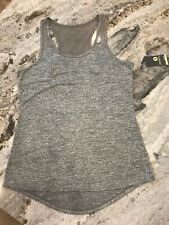 Womens S Xersion Tank Top Light Gray Racerback Nwt Open Back