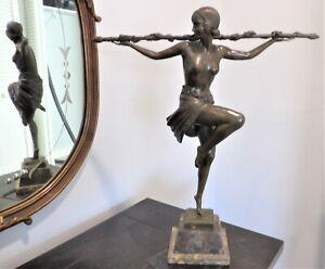 """LARGE Vtg. Pierre Le Faguays French Deco Bronze Sculpture 21"""" Ballerina Art-Ex.!"""