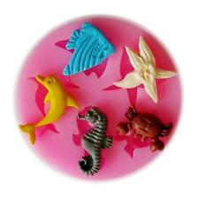 Sea Dolphin Crab Fish Starfish Silicone Mould Fondant Cake Modelling Tools Mold