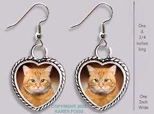 Tabby Orange Shorthair Cat - Heart Earrings Ornate Tibetan Silver