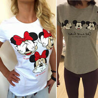Womens Short Sleeve T-Shirt Casual Loose Print Mickey Minnie Summer Blouse Tops
