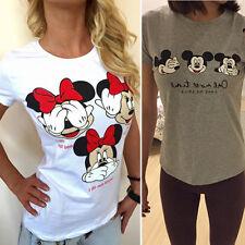 Damen Mickey Minnie Oberteile Bluse Hemd Mit Kurzen Ärmeln T-Shirt Freizeit Tee