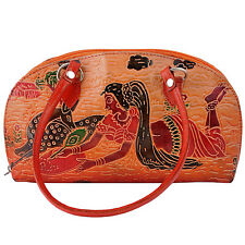 Indian Handmade Vintage Genuine Leather Shantiniketan Embossed Small Handbag