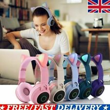 Wireless Cat Ear Headphones Bluetooth Headset LED Lights Earphone Kids Adults