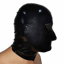 Brand New Latex Black Perforated Rubber Gummi Hood (one size)