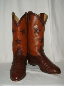 Women's Cordones Full Quill Ostrich Cowboy Boots Inlay Stars Size 9.5B Spain