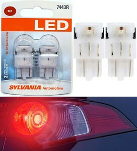 Sylvania Premium LED Light 7443 Red Two Bulbs Brake Stop Tail Replacement Lamp