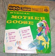 Musical Mother Goose Jack Spratt Georgie Porgie Golden 3 on1 Record Vinyl Vtg