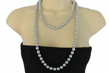 Women Cream Grey Imitation Pearl Beads Extra Long Necklace Fashion Jewelry Lady