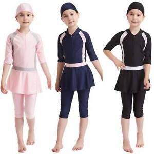 Muslim Girls Swimsuit Islamic Kids Swimwear Modest Burkini Swimming Beach Summer