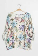 loose top with flowers plus size batwing italian clothing top spring summer