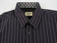 Enzone Men's 100% Cotton L/S Button Down Navy Blue Striped Dress Shirt - Medium