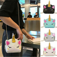 UK Lovely Unicorn Shiny Sequins Mini Handbag Girls School Travel Shoulder Bags~
