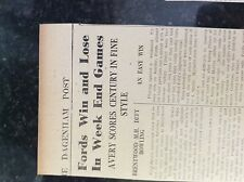 M3-8a 1941 dagenham. ww2 cricket report fords v brentwood mental hospital tilbur
