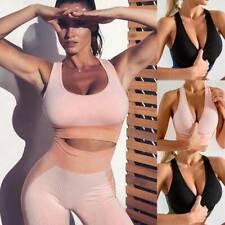 Womens Yoga Tank Tops Padded Bra Backless Sleeveless Sport Gym Vest Fitnss Shirt