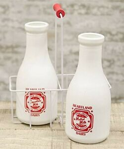 Retro Heartland Dairy Milk Bottles - Set of 2 with carrier