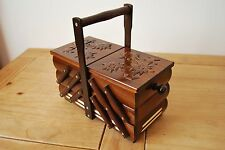 LOVELY VINTAGE STYLE  WOODEN  MEDIUM 27CM LONG SEWING BOX HAND CRAFTED