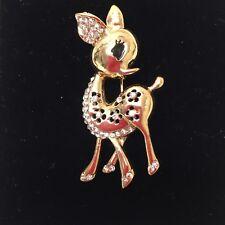 Vintage Jewllery Adorable Rhinestone Bambi/Fawn Figural Brooch Pin