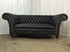 Chesterfield 2 Seater Castleford Sofa In Madras Black Genuine Leather(Brand New)
