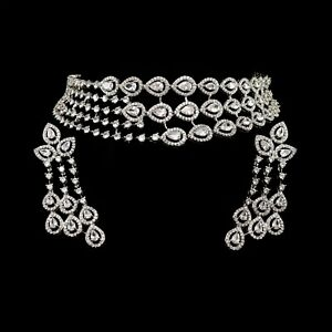 Traditional Cubic Zirconia Choker Necklace Earring Set 112 WN 29