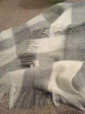 Anthropologie  Plaid Throw Blanket Gray White Fuzzy Tartan Buffalo Check