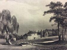 Château de Billy SAINT-VRAIN Essonne Grande estampe en lithographie vers 1885