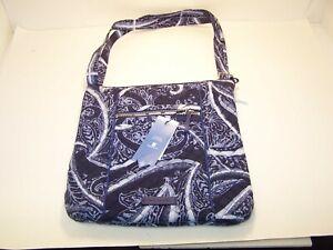 VERA BRADLEY Iconic Hipster Indio Blue Handbag Purse Bag Crossbody NWT NEW