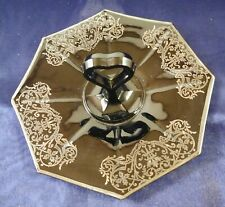 Art Deco Octagon Black Amethyst Silver Overlay Center ❤️ Handle Tidbit Tray